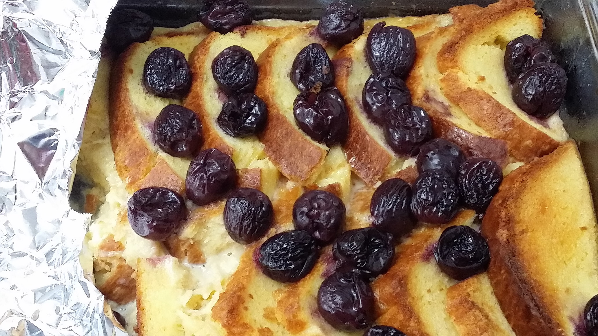 dark cherry brioche bread & butter pudding