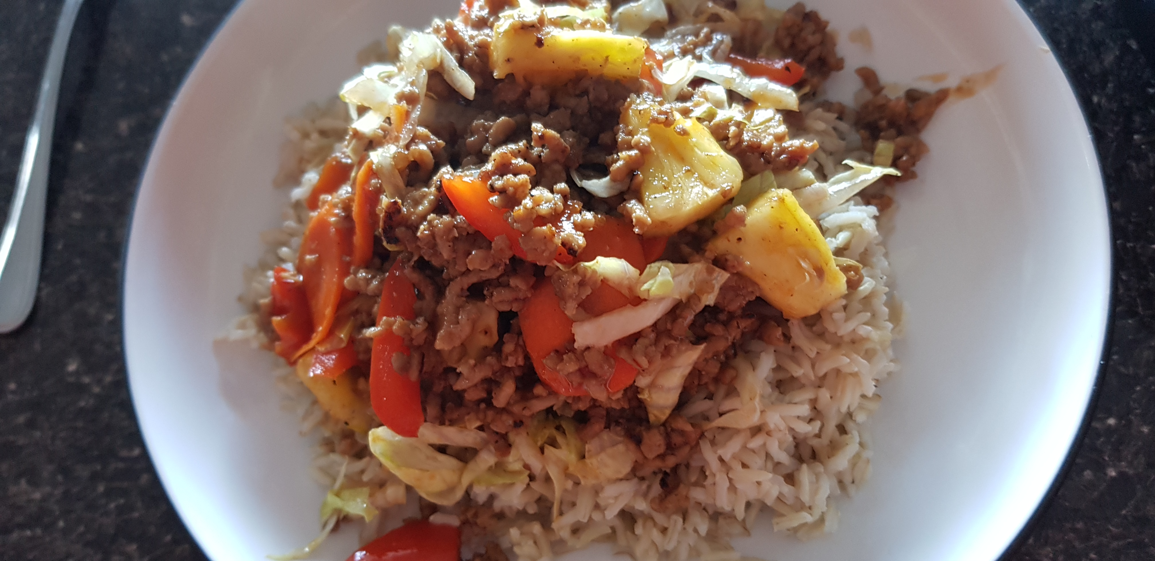 sweet & sour pork mince with rice