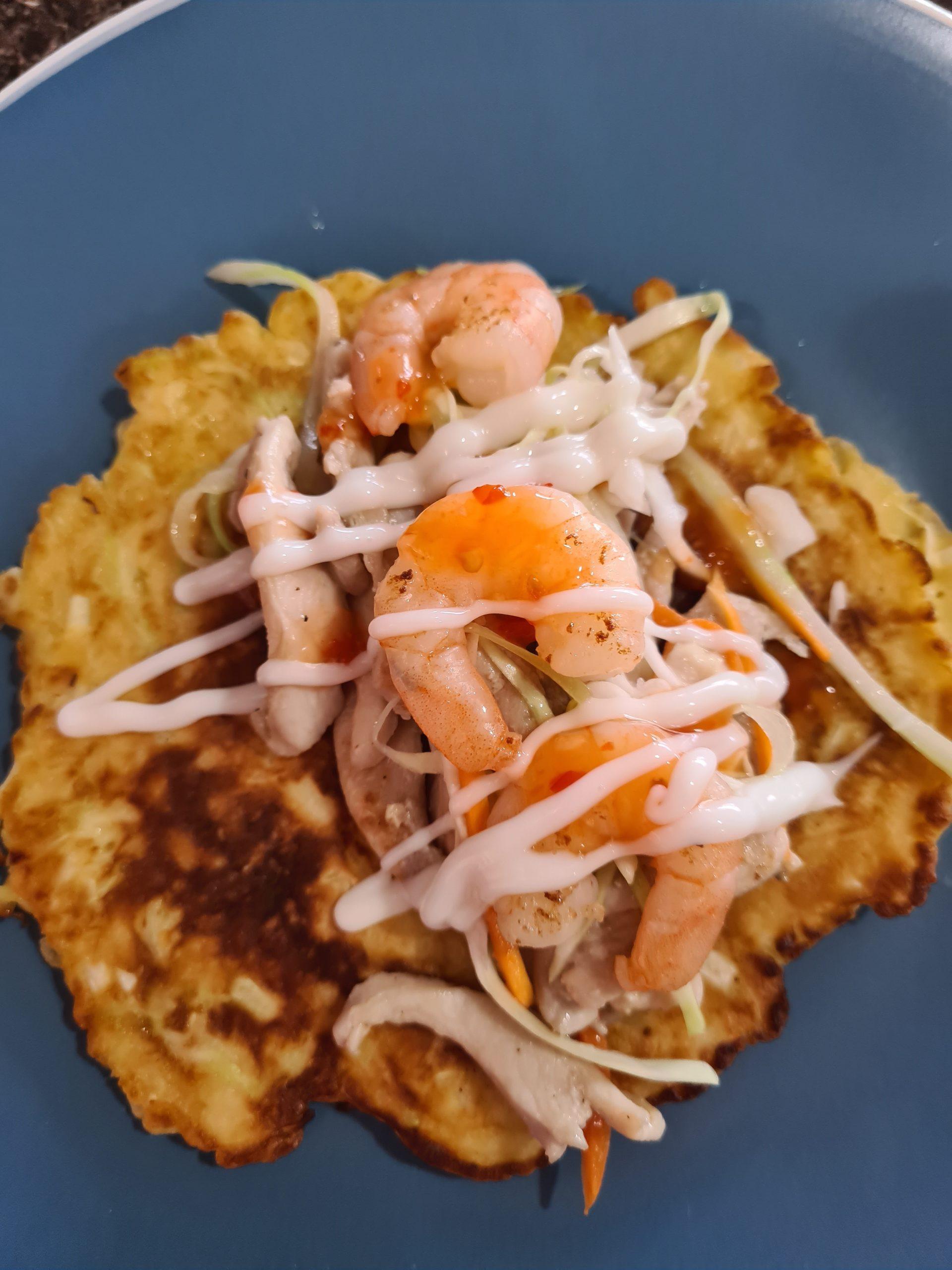 Okonomiyaki with prawns