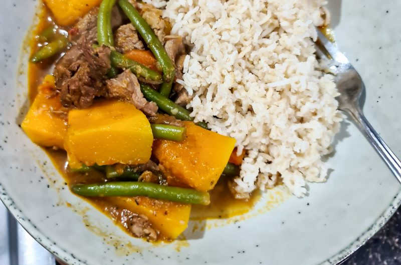My take on a Thai inspired beef curry infused with lemongrass, chilli and kaffir lime leaves